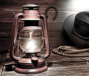 Kerosene Lamp in American West Rodeo Cowboy Barn